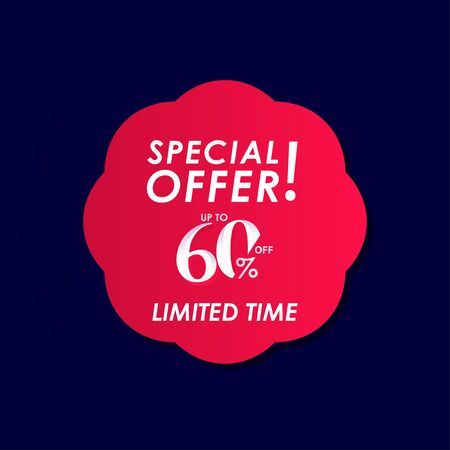 Discount Special Offer up to 60% off Limited Time Label Vector Template Design Illustration
