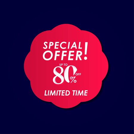 Discount Special Offer up to 80% off Limited Time Label Vector Template Design Illustration Stock Illustratie