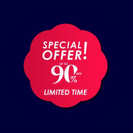 Discount Special Offer up to 90% off Limited Time Label Vector Template Design Illustration Stock Illustratie