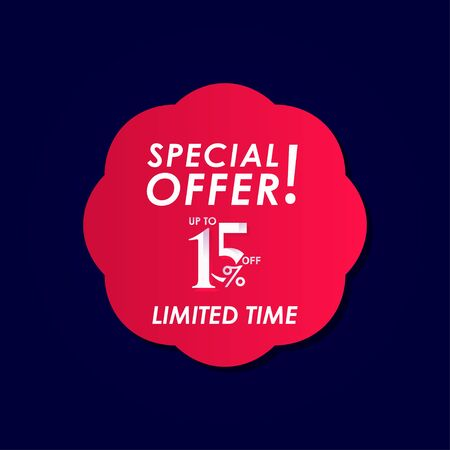 Discount Special Offer up to 15% off Limited Time Label Vector Template Design Illustration Stock Illustratie