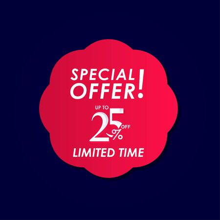 Discount Special Offer up to 25% off Limited Time Label Vector Template Design Illustration