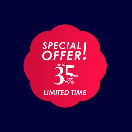 Discount Special Offer up to 35% off Limited Time Label Vector Template Design Illustration