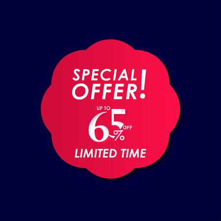 Discount Special Offer up to 65% off Limited Time Label Vector Template Design Illustration