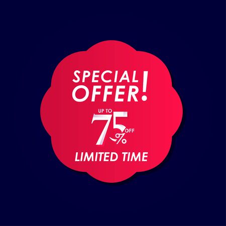 Discount Special Offer up to 75% off Limited Time Label Vector Template Design Illustration
