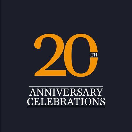 20 Years Anniversary Celebrations Vector Template Design Illustration Stock Illustratie