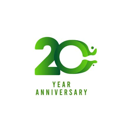 20 Years Anniversary flux Celebration Vector Template Design Illustration Stock Illustratie