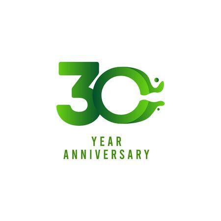 30 Years Anniversary flux Celebration Vector Template Design Illustration Stock Illustratie