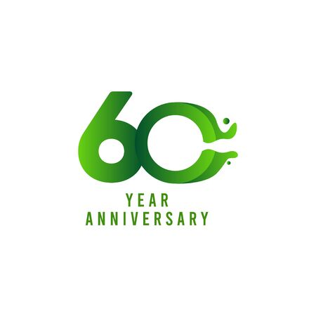 60 Years Anniversary flux Celebration Vector Template Design Illustration Stock Illustratie