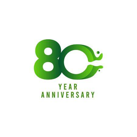 80 Years Anniversary flux Celebration Vector Template Design Illustration Stock Illustratie