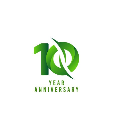 10 Years Anniversary green Celebration Vector Template Design Illustration