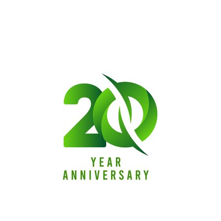 20 Years Anniversary green Celebration Vector Template Design Illustration