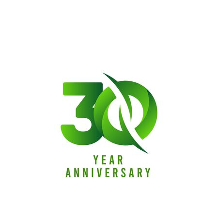 30 Years Anniversary green Celebration Vector Template Design Illustration