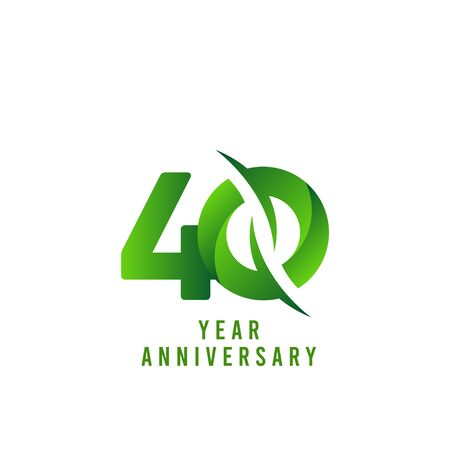 40 Years Anniversary green Celebration Vector Template Design Illustration Stock Illustratie