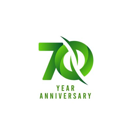 70 Years Anniversary green Celebration Vector Template Design Illustration Stock Illustratie