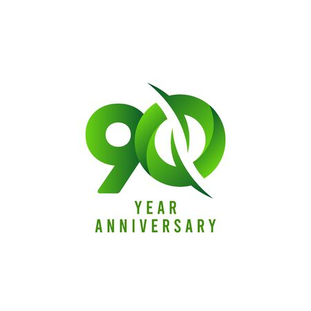 90 Years Anniversary green Celebration Vector Template Design Illustration