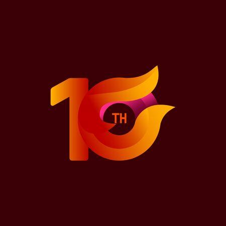 10 Th Anniversary Celebrations Orange Vector Template Design Illustration