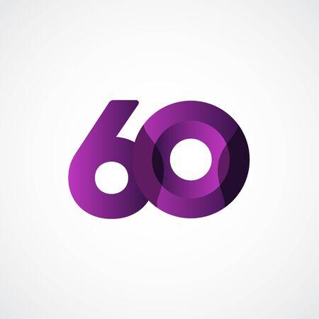 60 Years Anniversary Celebrations Purple Vector Template Design Illustration