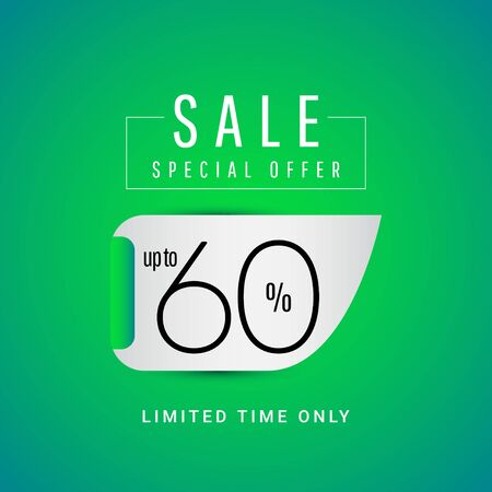 Sale Special Offer up to 60% Limited Time Only Vector Template Design Illustration