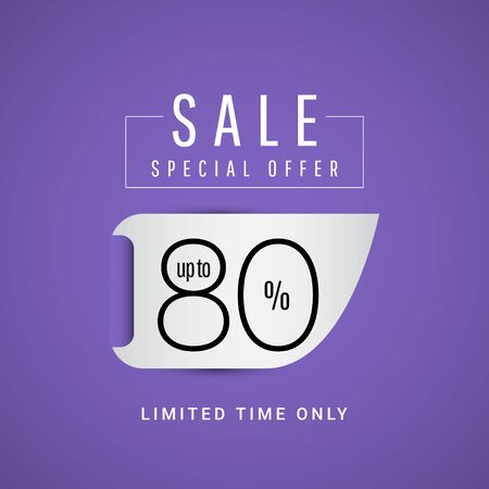 Sale Special Offer up to 80% Limited Time Only Vector Template Design Illustration