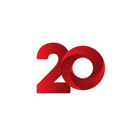 20 Years Anniversary Celebration Red Vector Template Design Illustration