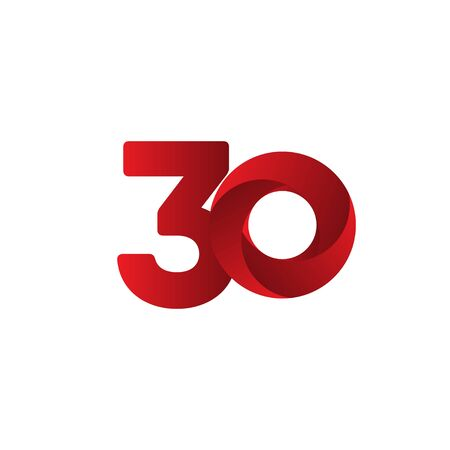 30 Years Anniversary Celebration Red Vector Template Design Illustration