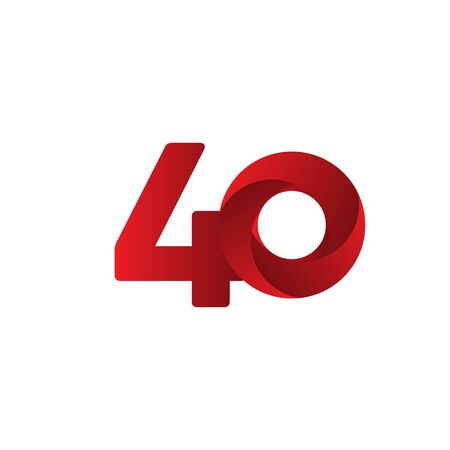 40 Years Anniversary Celebration Red Vector Template Design Illustration