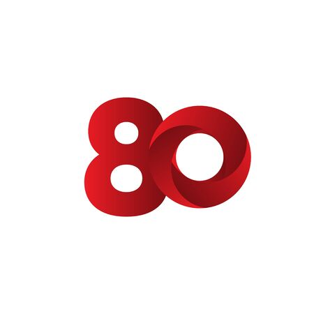 80 Years Anniversary Celebration Red Vector Template Design Illustration