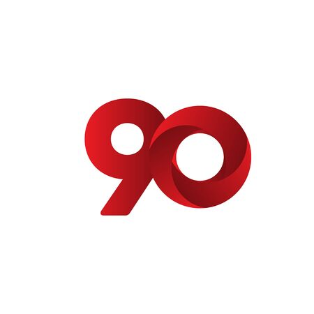 90 Years Anniversary Celebration Red Vector Template Design Illustration 일러스트
