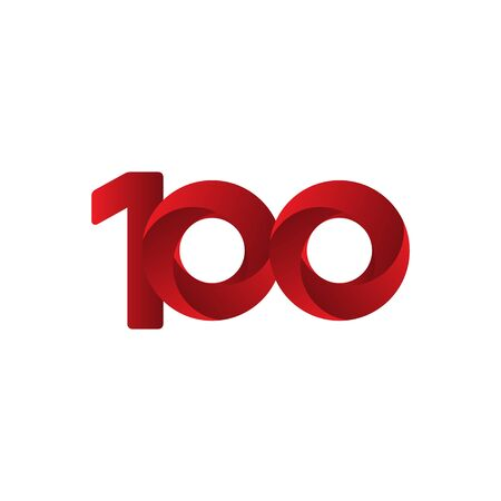 100 Years Anniversary Celebration Red Vector Template Design Illustration