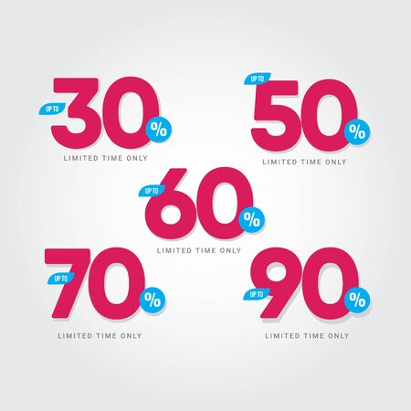 Discount up to 30% 50% 60% 70% 90% Limited Time Only Vector Template Design Illustration