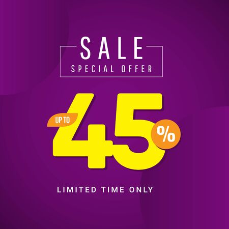 Sale Special Offer up to 45% Limited Time Only Vector Template Design Illustration