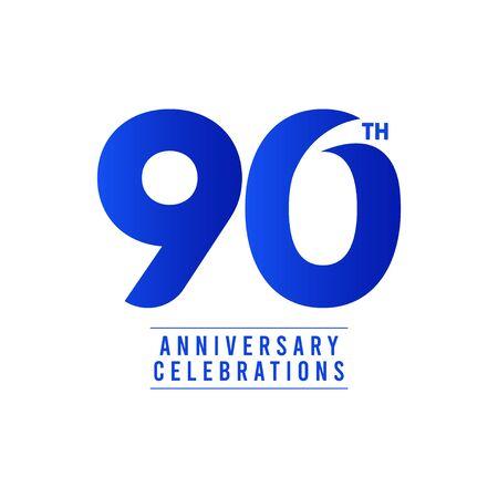 90 Th Anniversary Celebrations Vector Template Design Illustration