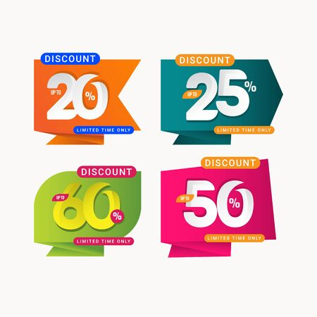 Discount Limited Time Only Label Vector Template Design Illustration