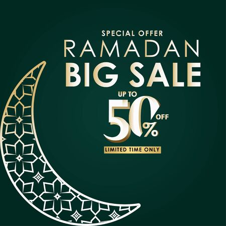 Ramadan Big Sale Special Offer up to 50% off Limited Time Only Vector Template Design Illustration