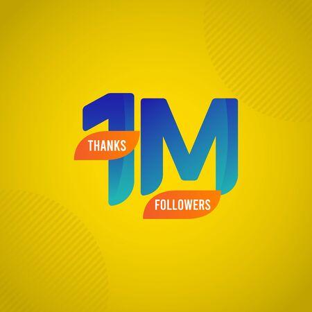 Thanks 1 M Followers Vector Template Design Illustration