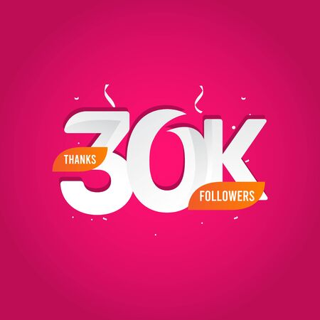 Thanks 30 K Followers Vector Template Design Illustration Vectores