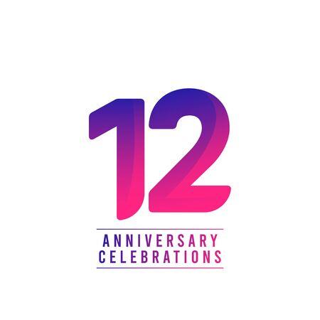 12 Years Anniversary Celebrations Vector Template Design Illustration