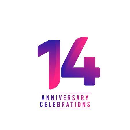 14 Years Anniversary Celebrations Vector Template Design Illustration
