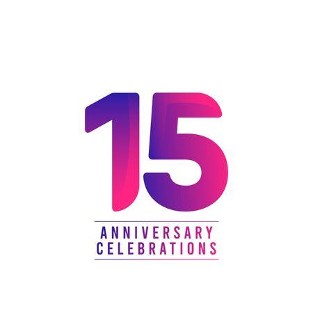 15 Years Anniversary Celebrations Vector Template Design Illustration