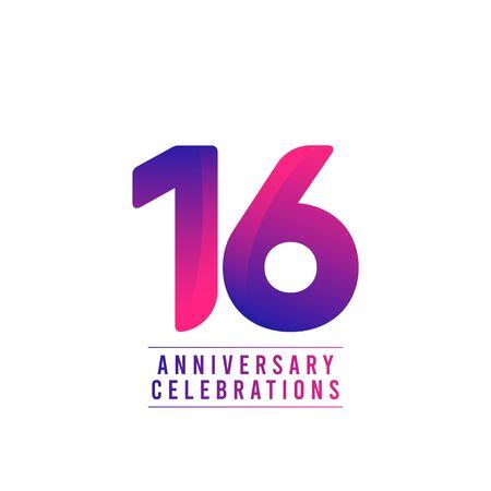 16 Years Anniversary Celebrations Vector Template Design Illustration