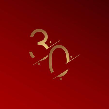 30 Years Anniversary Celebration Elegant Number Vector Template Design Illustration