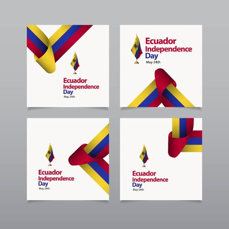 Happy Ecuador Independence Day Celebration Vector Template Design Illustration Ilustração