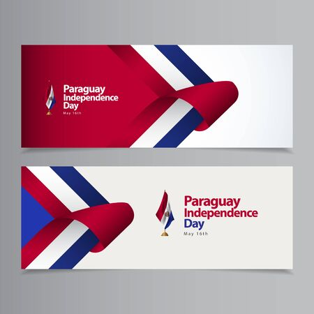 Happy Paraguay Independence Day Celebration Vector Template Design Illustration