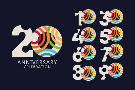 20 Years Anniversary Celebration Logo Vector Template Design Illustration
