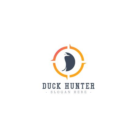 Duck Hunter Logo Icon Vector Template Design Illustration