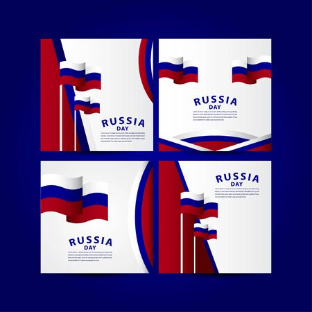 Happy Russia Independence Day Celebration Vector Template Design Illustration Vettoriali