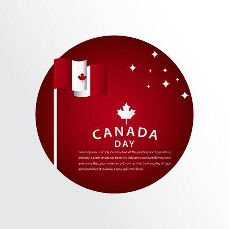 Happy Canada Day Celebration Vector Template Design Illustration  イラスト・ベクター素材