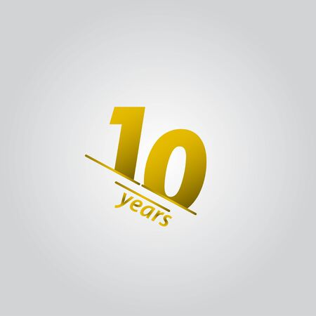 10 Years Anniversary Celebration Gold Line Vector Template Design Illustration Vettoriali
