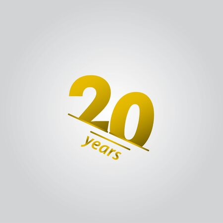 20 Years Anniversary Celebration Gold Line Vector Template Design Illustration