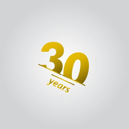 30 Years Anniversary Celebration Gold Line Vector Template Design Illustration